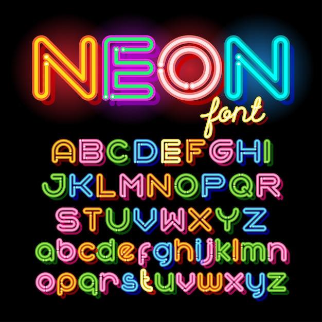 Neon light alphabet vector font. neon tube letters on dark background. uppercase and small case set Premium Vector