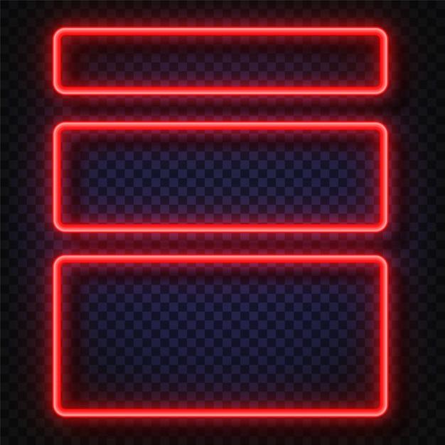 Neon light banners set. vector neon light frame sign. Premium Vector