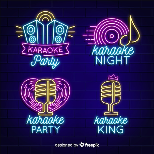 Neon light collection with karaoke concept Free Vector