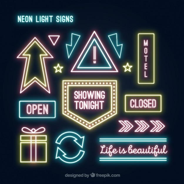 7628ba35d9a4a Neon light collection Free Vector