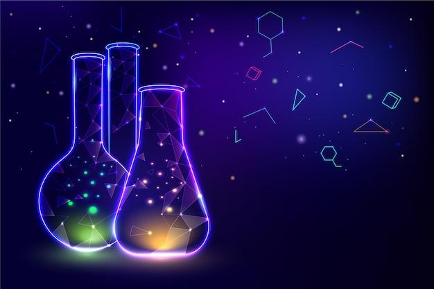 Неоновый свет контейнеры лаборатории фон Бесплатные векторы