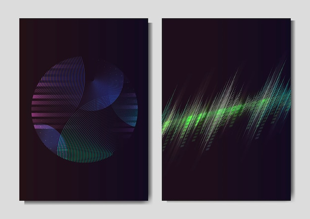 Neon light effect posters Free Vector