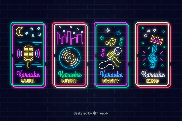 Neon light karaoke sign collection Free Vector
