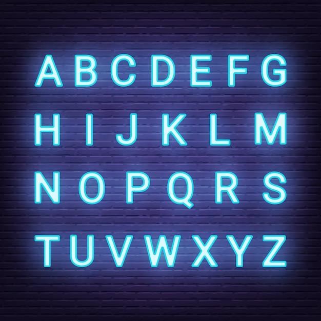 Neon light letters Premium Vector