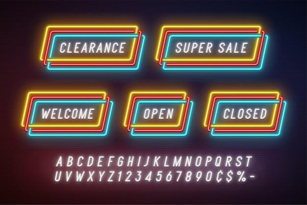 Неоновый свет линейный рекламный баннер ленты, ценник Premium векторы