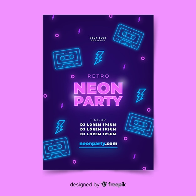Neon light music poster template Free Vector