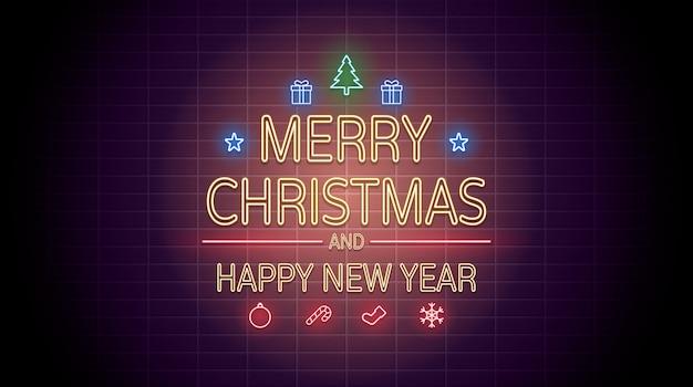 Неоновый свет с рождеством и новым годом на кирпичной стене Premium векторы