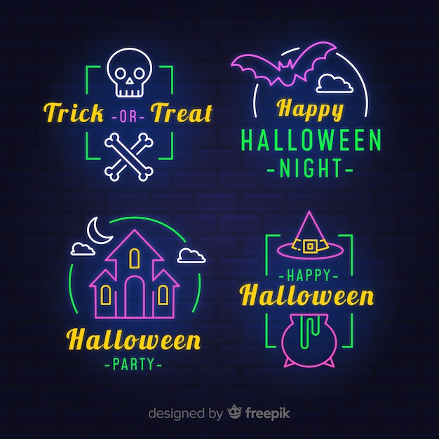 Neon light signs for halloween party Free Vector
