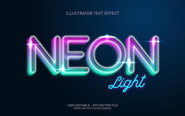 Редактируемый текстовый эффект, иллюстрации в стиле neon light Premium векторы