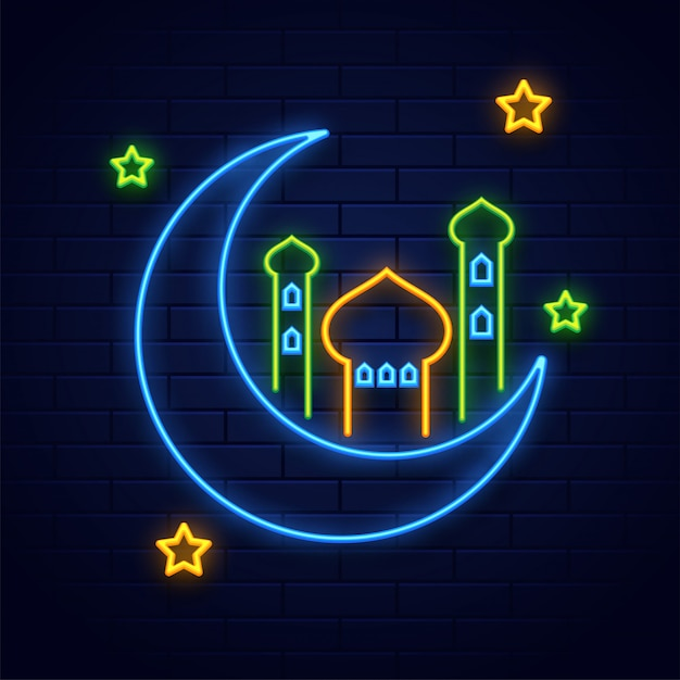 Neon lighting effect crescent moon with mosque and stars on blue Premium Vector
