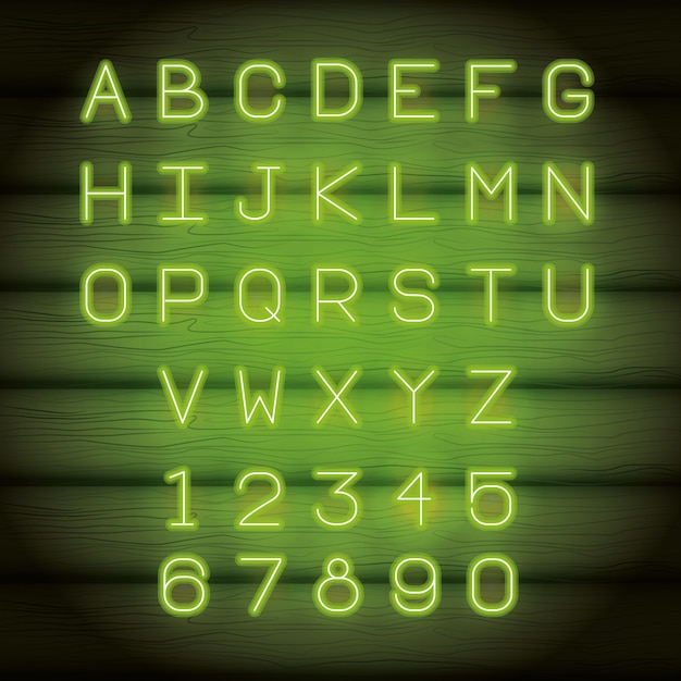Neon lights alphabet font Premium Vector