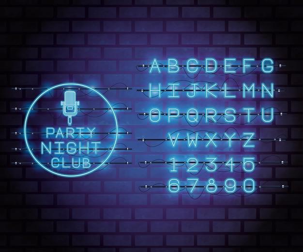 Neon lights alphabet font Premium Vector