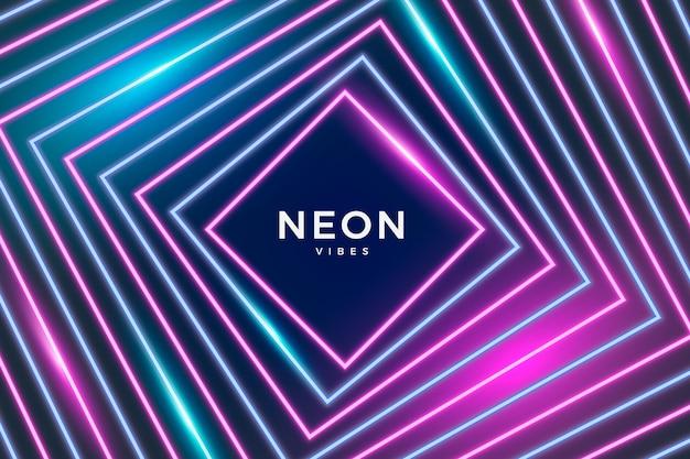Неоновые огни фон геометрический дизайн Бесплатные векторы
