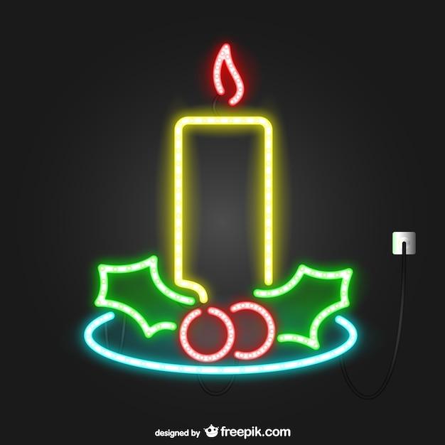 neon lights christmas candle free vector