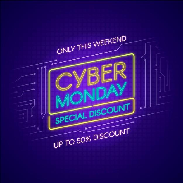 Le luci al neon cyber lunedì solo questo fine settimana Vettore gratuito
