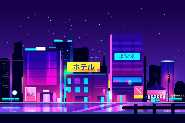 Neon lights on japanese streets Free Vector