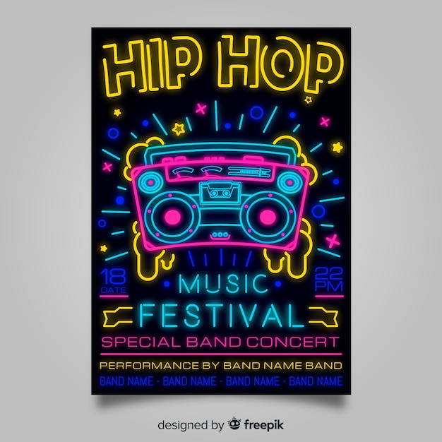 Neon lights music festival poster template Free Vector