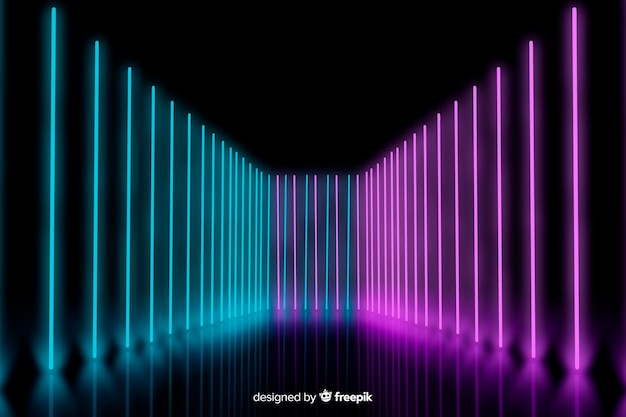 Neon lights on stage aligned background Free Vector