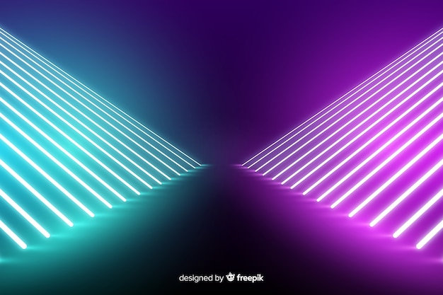 Neon lights stage background with lines Free Vector