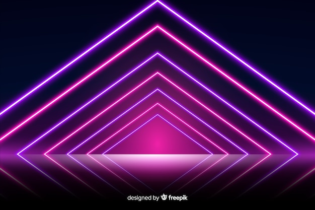 Neon lights stage background Free Vector
