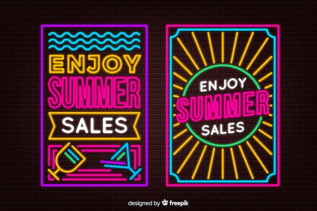 Neon lights summer sale banners Free Vector