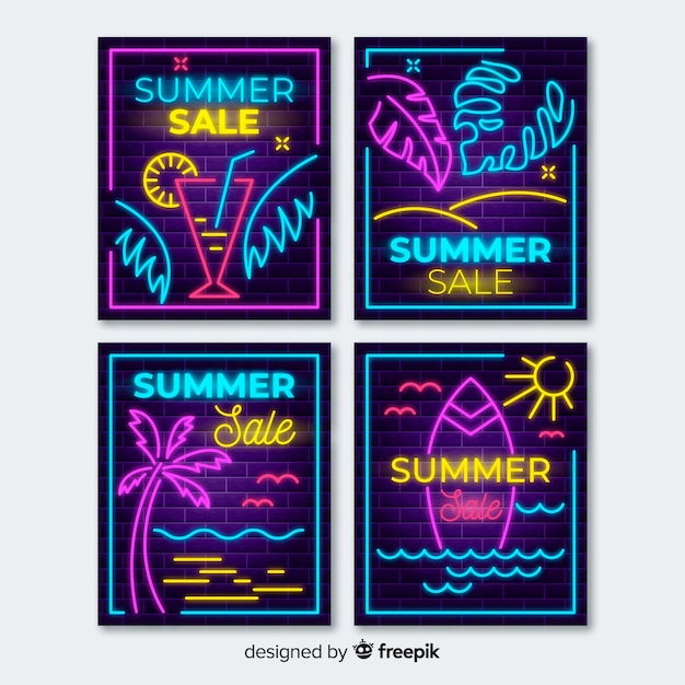 Neon lights summer sale banners Free Vector