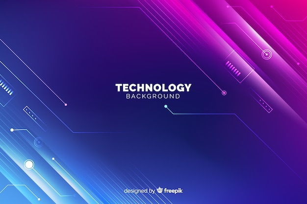 Neon lights technology background Free Vector