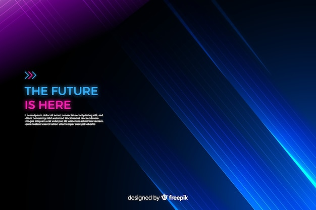 Neon lights technology geometric background Free Vector