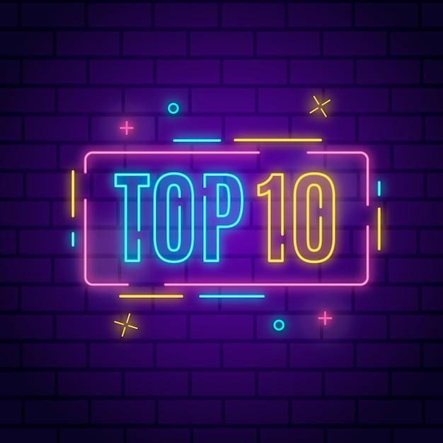 Top 10 delle luci al neon Vettore gratuito