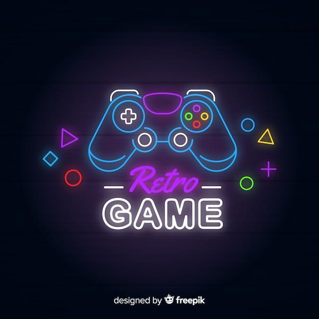 Neon lights vintage gaming logo Premium Vector