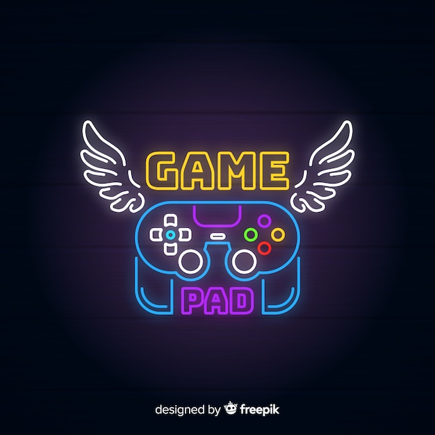 Neon lights vintage gaming logo Free Vector