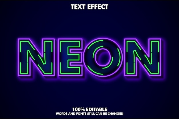 Neon line text efect Free Vector