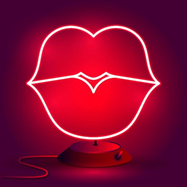 Neon lips sign Premium Vector