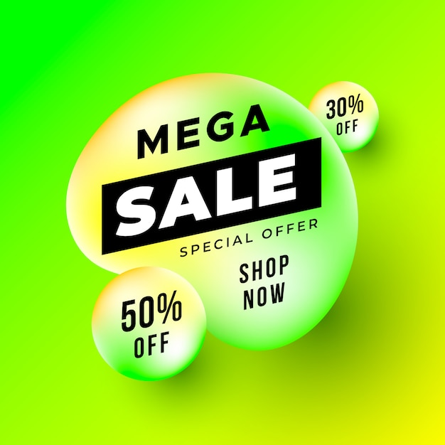 Neon mega sale banner with liquid shapes Free Vector