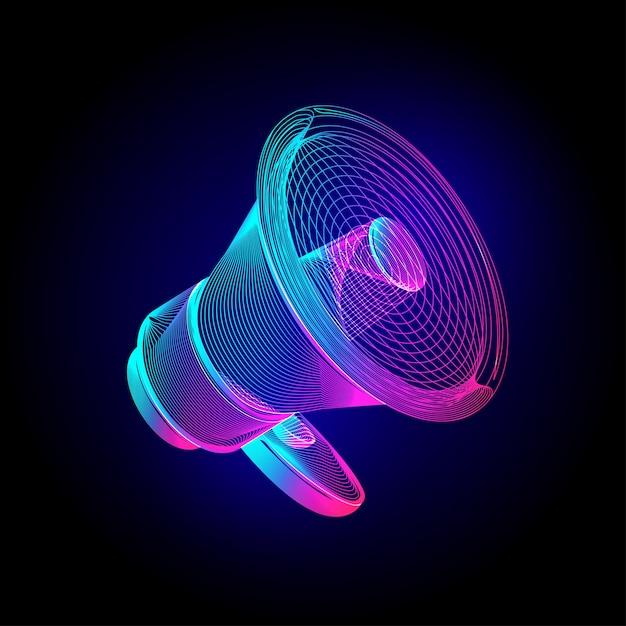 Неоновый мегафон. светящийся знак спикера мегафона. в ультрафиолетовом стиле штрих-арт на темном фоне Premium векторы