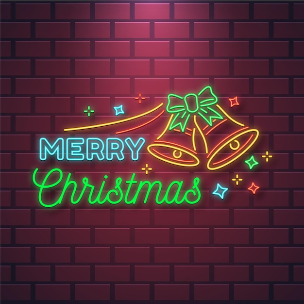 Neon merry christmas text with bells Premium Vector