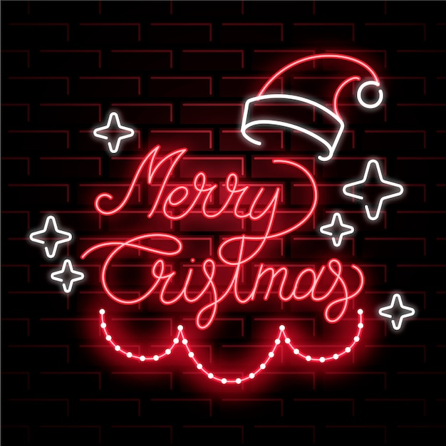 Neon merry christmas with santa's hat Free Vector