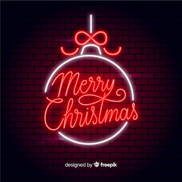 Neon merry christmas Free Vector