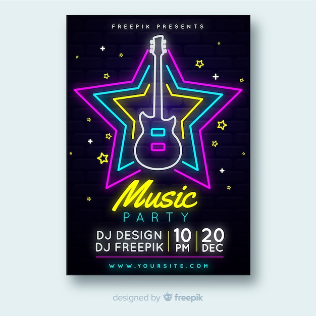 Neon music festival poster template Free Vector