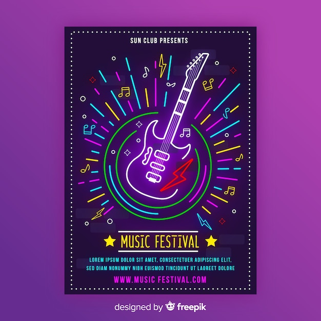 Neon music poster template with electric guitar Free Vector