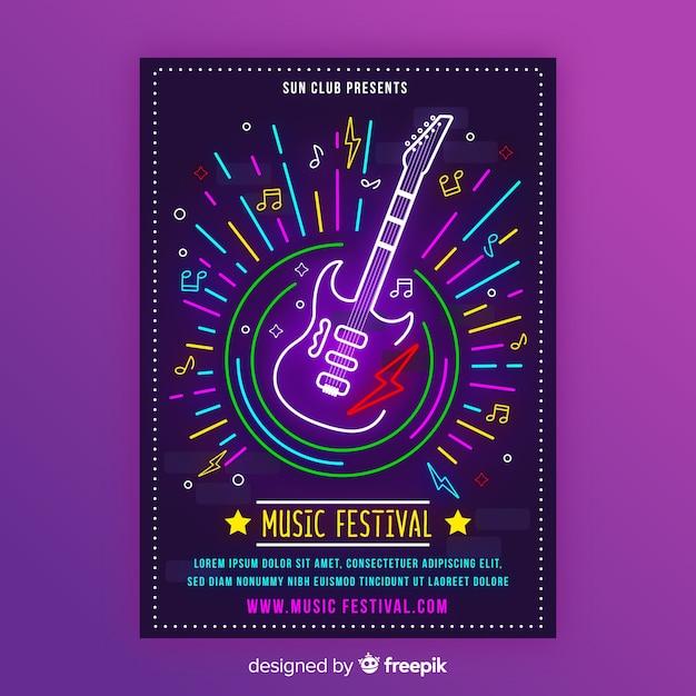 Modello di poster di musica al neon con chitarra elettrica Vettore gratuito