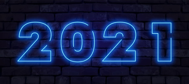 Neon new year 2021 greeting card - neon blue letters 2021 ...