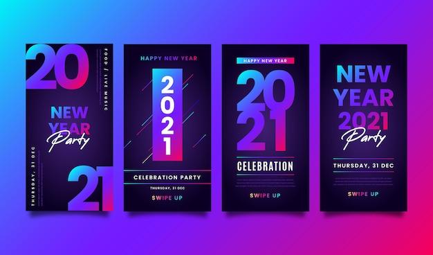 Neon new year 2021 instagram stories Free Vector