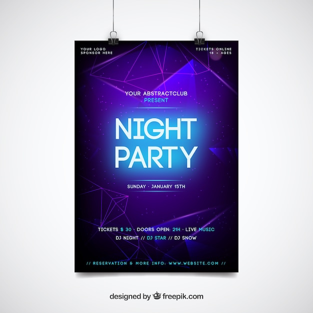 Neon night party poster template Free Vector