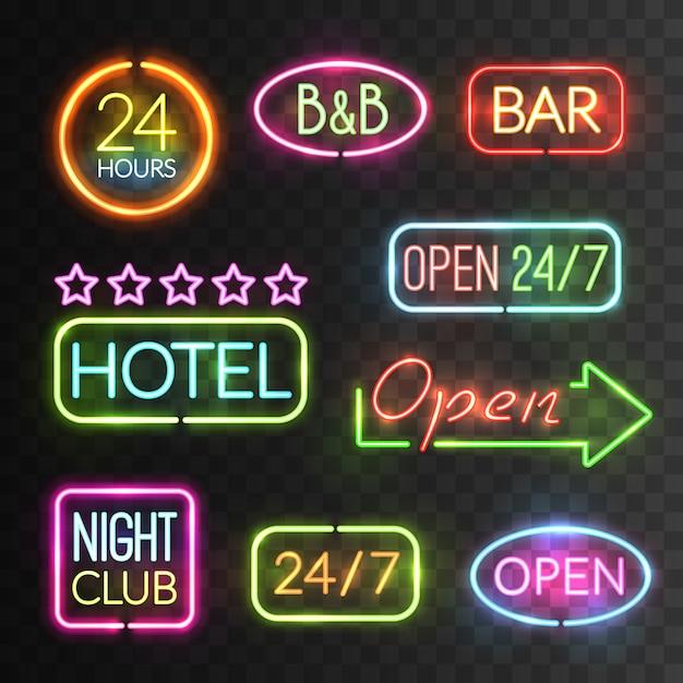Neon open sign set Free Vector