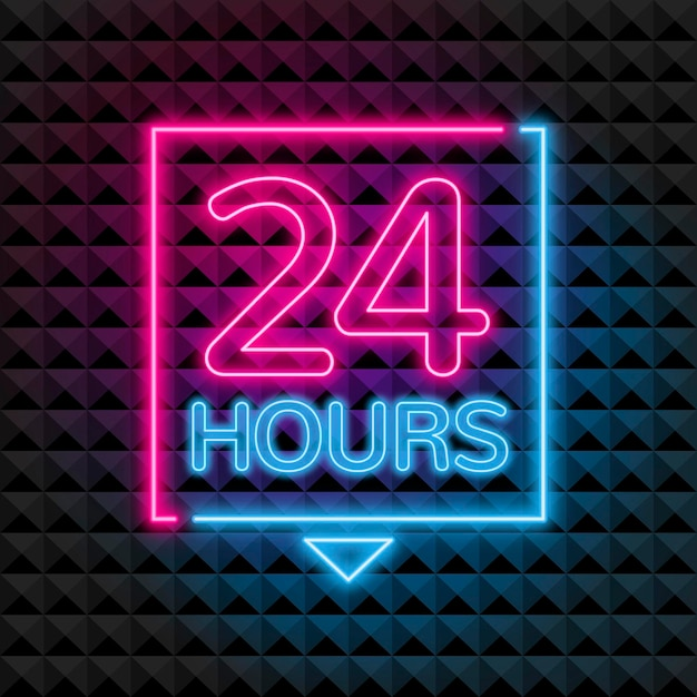 Neon 'open twenty four hours' sign Free Vector