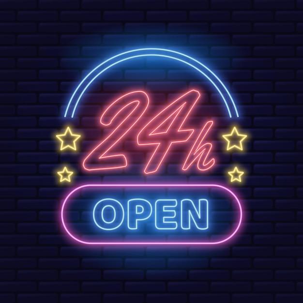 Neon open twenty-four hours sign Free Vector