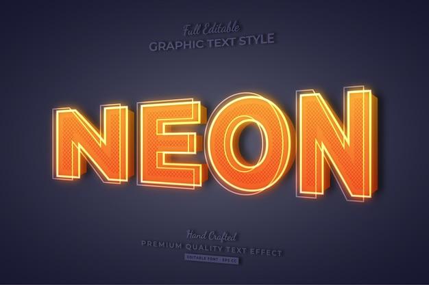 Neon orange 3d editable text effect font style Premium Vector