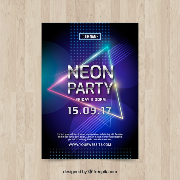 Neon party poster with colorful triangle Free Vector