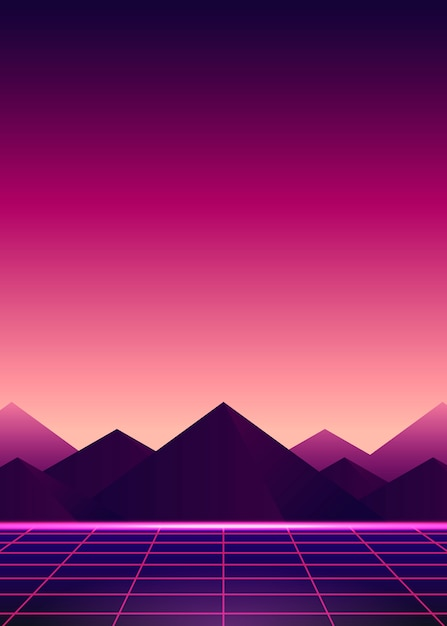 Neon pink ladscape Free Vector